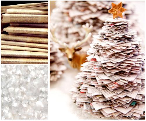 Árvore de Natal com jornal